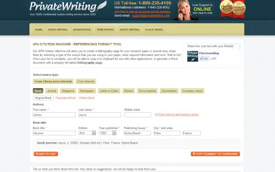A free APA citation generator