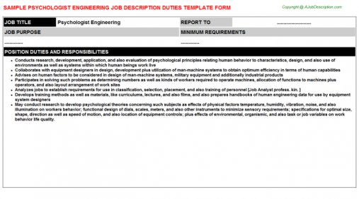 Psychologist Engineering Job