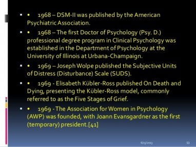 1968 – DSM-II was published by