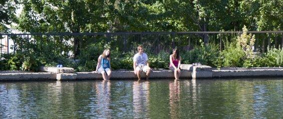 Students at lake