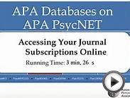 Accessing Your Journals Subscriptions on APA PsycNET