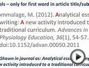 APA style - Referencing an ONLINE JOURNAL ARTICLE
