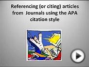 Citing Journal Articles in the APA Style.