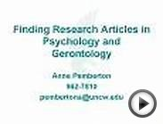 Finding Research Articles in Psychology and Gerontology